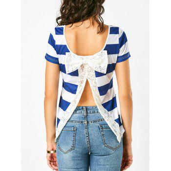 Lace Bowknot Panel Slit Back Stripe T-Shirt