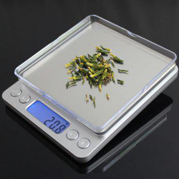 High Precision Weighting Food Kitchen Electronic Scale - SILVER 12.7*10.6*1.9CM(500G/0.01G)