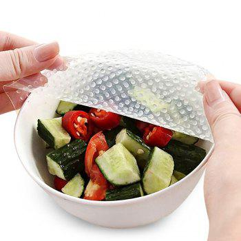 Reusable Silicone Food Fresh Keeping 4Pcs Plastic Wrap - TRANSPARENT 9.8*9.8*0.1CM