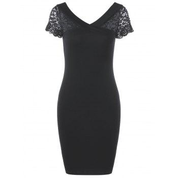 Lace Trim V Neck Bodycon Party Dress