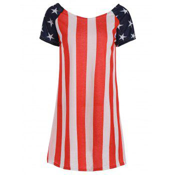 American Flag Print Patriotic T Shirt Dress