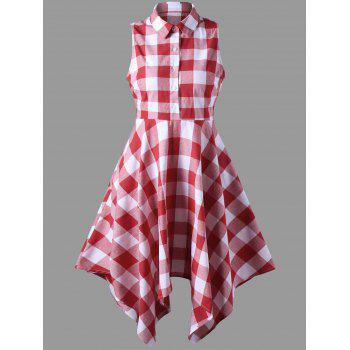 Asymmetrical Sleeveless Plaid Shirt Dress