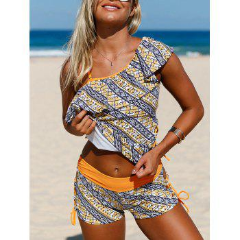 Flouncing Padded One Shoulder Printed Tankini Set