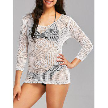 Sheer Openwork Lace Cover Up Top