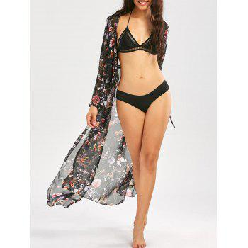 Drawstring Floral Print Beach Maxi Cover Up