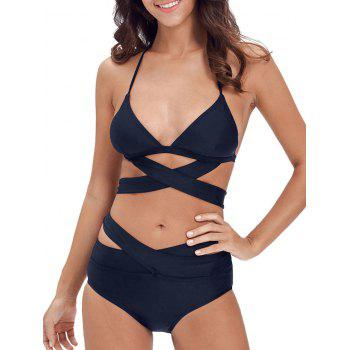 Halter Criss Criss Cut Out Bikini Set
