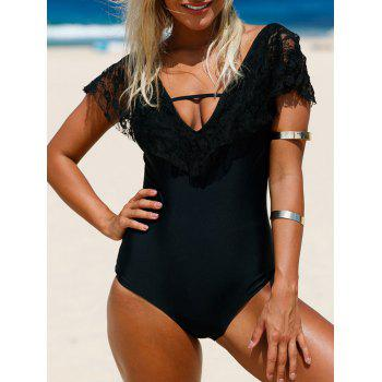 Lace Insert Plunge Backless One Piece Swimwear