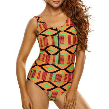 Printed Zipper Half Backless One Piece Swimsuit