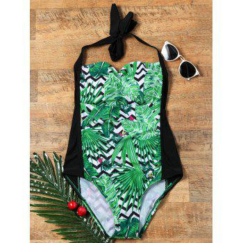 Palm Floral Zigzag Halter One Piece Swimsuit
