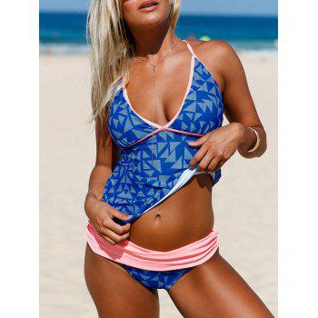 Plunging Neckline Strappy Backless Tankini Set