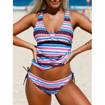 Plunging Neckline Backless Striped Tankini Set