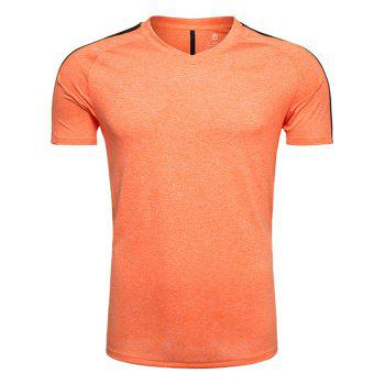 V Neck Mesh Panel Raglan Sleeve Quick Dry Training T-shirt