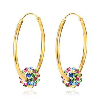 Rhinestone Circle Ball Hoop Earrings