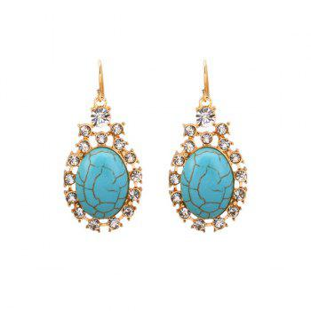 Artificial Turquoise Rhinestone Oval Hook Earrings