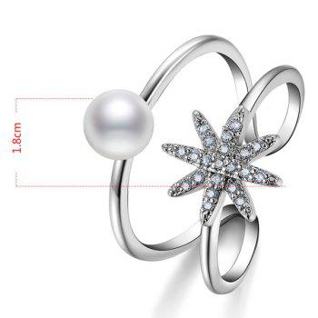 Rhinestone Artificial Pearl Star Cuff Ring -  SILVER