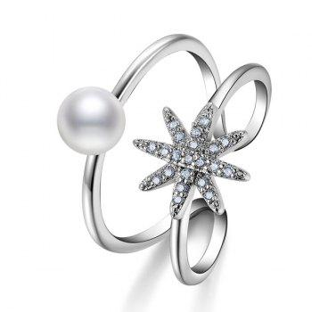 Rhinestone Artificial Pearl Star Cuff Ring