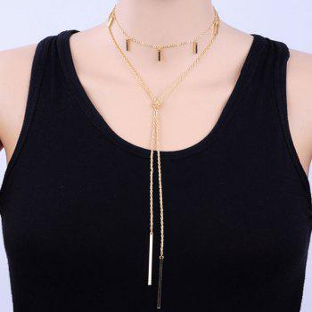 Layered Alloy Bar Pendant Necklace