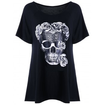 Skull Rose Print Relaxed T-shirt