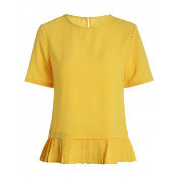 Pleated Hem Round Neck Blouse