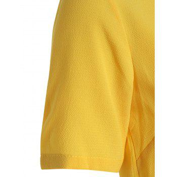 Pleated Hem Round Neck Blouse - YELLOW L