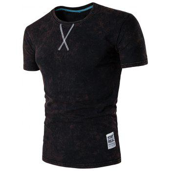 Short Sleeve Distressed Crew Neck Tee