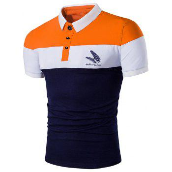 Color Block Feather Print Polo Shirt