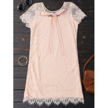 Self Tie Eyelash Lace Dress