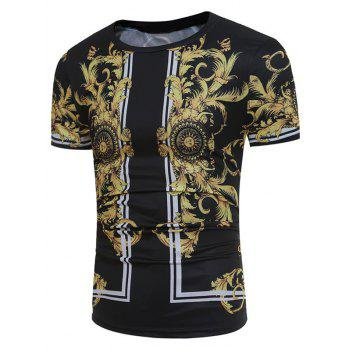3D Florals and Dragon Print Short Sleeve T-shirt