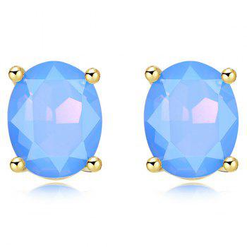 Oval Artificial Gem Embellished Stud Earrings