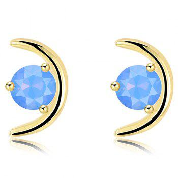 Plated Metallic Crescent Faux Gem Stud Earrings