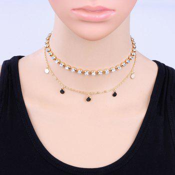 Metal Round Piece Rhinestone Layered Choker Necklace - GOLDEN