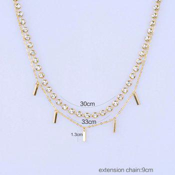 Metal Strip Rhinestone Embellished Layered Choker Necklace - GOLDEN