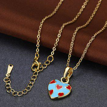 Pleting Heart Embellished Pendant Necklace - BLUE