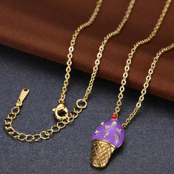 Ice Cream Shape Rhinestone Inlaid Pendant Necklace - PURPLE