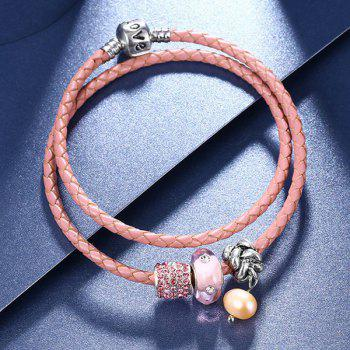 Artificial Cystal Beads Leather Rope Layer Bracelet - PINK