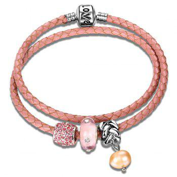 Artificial Cystal Beads Leather Rope Layer Bracelet