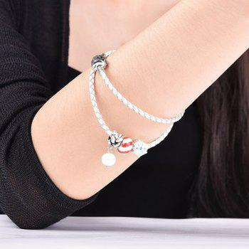 Artificial Pearl Leather Rope Snow Beaded Bracelet - WHITE