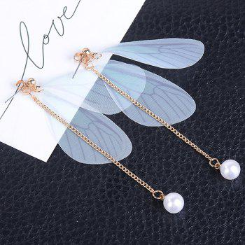 Faux Pearls Wing Earrings - AZURE