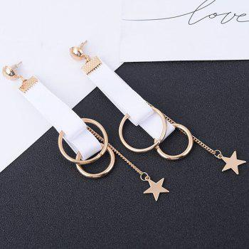 Star Ribbon Drop Earrings - WHITE