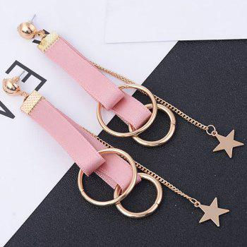 Star Ribbon Drop Earrings - LIGHT PINK