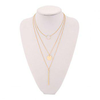 Geometric Three Layers Link Chain Necklace