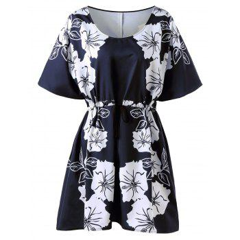 Plus Size Floral Drawstring Dress