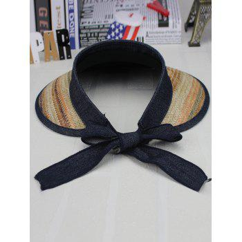 Bowknot Band Oversize Brim Open Top Straw Hat - KHAKI DOUBLE