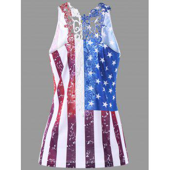 Lace Trim Patriotic American Flag Tank Top