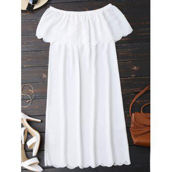 Off The Shoulder Scalloped Dress - WHITE WHITE