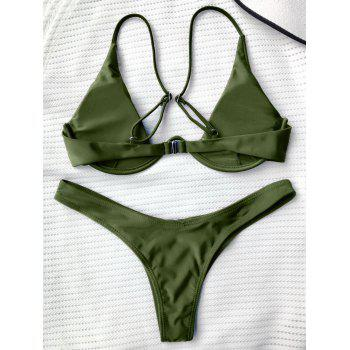 Underwired Plunge Bathing Suit - GREEN S
