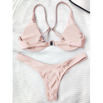 Underwired Plunge Bathing Suit - PINK S