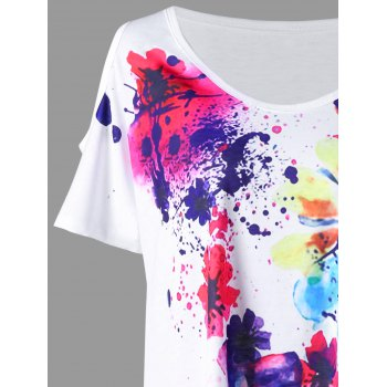 Plus Size Cold Shoulder Splatter Paint T-shirt - 5XL 5XL