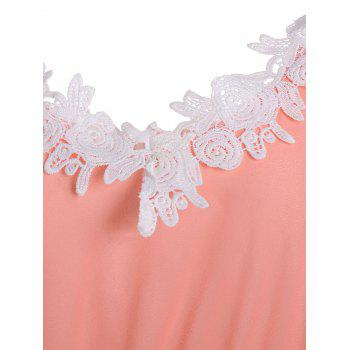 Crochet Lace Trim Chiffon Robe de cocktail - Orange L