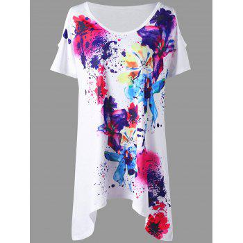 Plus Size Cold Shoulder Splatter Paint T-shirt - WHITE 4XL